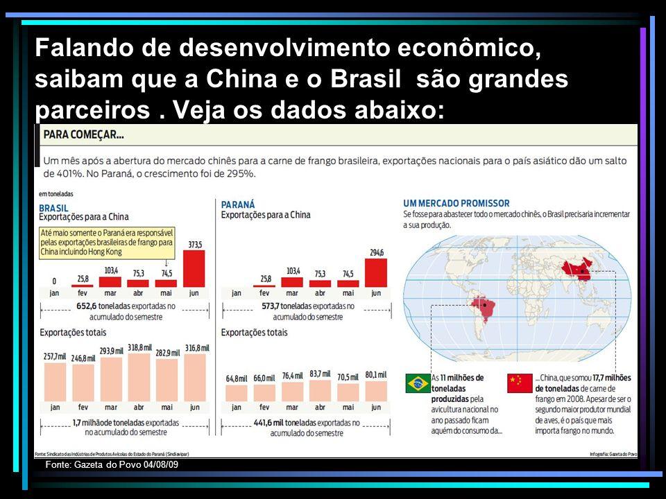 Falando de desenvolvimento econômico, saibam que a China e o Brasil são grandes parceiros. Veja os dados abaixo: Fonte: Gazeta do Povo 04/08/09