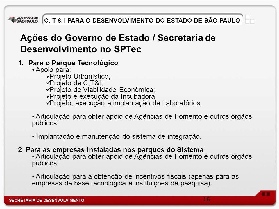 C, T & I PARA O DESENVOLVIMENTO DO ESTADO DE SÃO PAULO 1.Para o Parque Tecnológico Apoio para: Projeto Urbanístico; Projeto de C,T&I; Projeto de Viabi