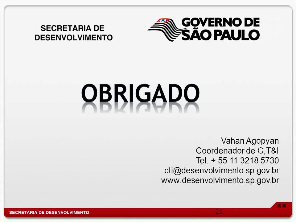 21 Vahan Agopyan Coordenador de C,T&I Tel. + 55 11 3218 5730 cti@desenvolvimento.sp.gov.br www.desenvolvimento.sp.gov.br
