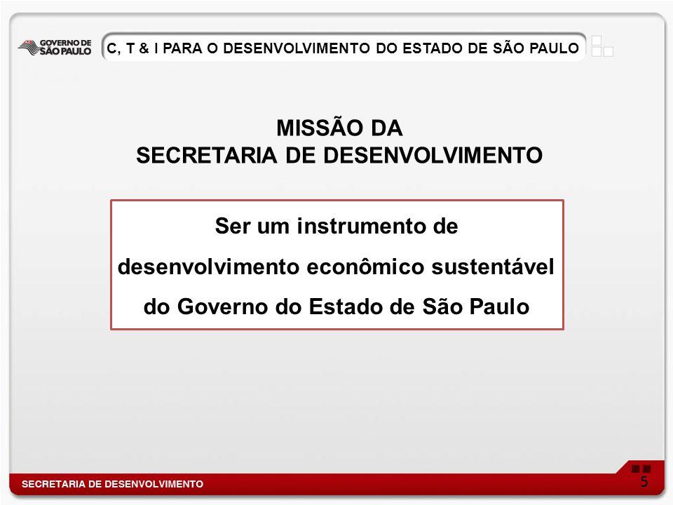 Ser um instrumento de desenvolvimento econômico sustentável do Governo do Estado de São Paulo MISSÃO DA SECRETARIA DE DESENVOLVIMENTO 5 C, T & I PARA O DESENVOLVIMENTO DO ESTADO DE SÃO PAULO