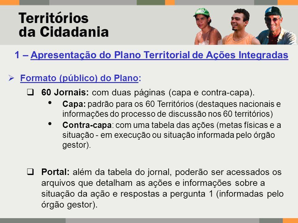 1 – Apresentação do Plano Territorial de Ações Integradas Formato (público) do Plano: 60 Jornais: com duas páginas (capa e contra-capa).