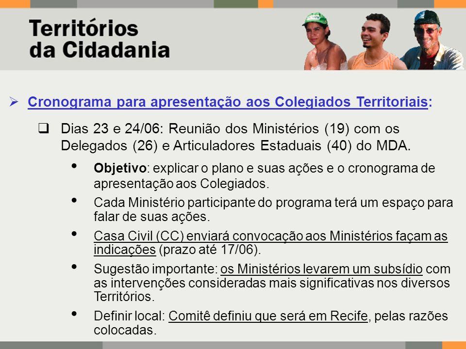 Cronograma para apresentação aos Colegiados Territoriais: Dias 23 e 24/06: Reunião dos Ministérios (19) com os Delegados (26) e Articuladores Estaduais (40) do MDA.