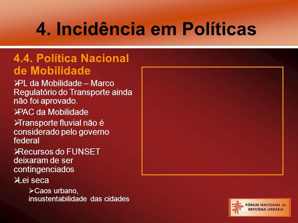 4. Incidência em Políticas 4.4.
