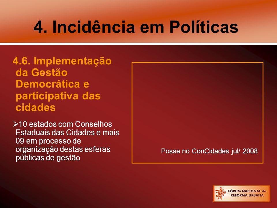 4. Incidência em Políticas 4.6. Implementação da Gestão Democrática e participativa das cidades 10 estados com Conselhos Estaduais das Cidades e mais