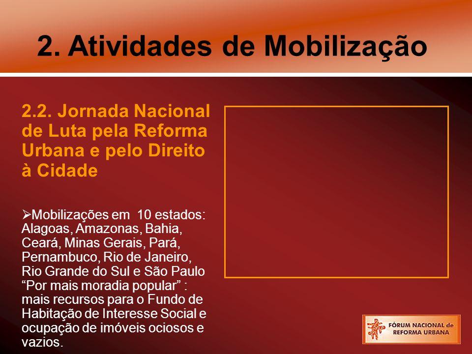 2. Atividades de Mobilização 2.2. Jornada Nacional de Luta pela Reforma Urbana e pelo Direito à Cidade Mobilizações em 10 estados: Alagoas, Amazonas,