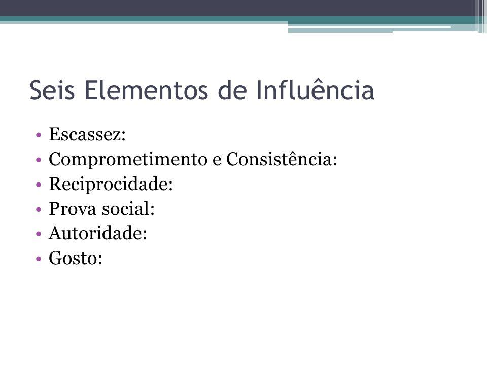 Seis Elementos de Influência Escassez: Comprometimento e Consistência: Reciprocidade: Prova social: Autoridade: Gosto: