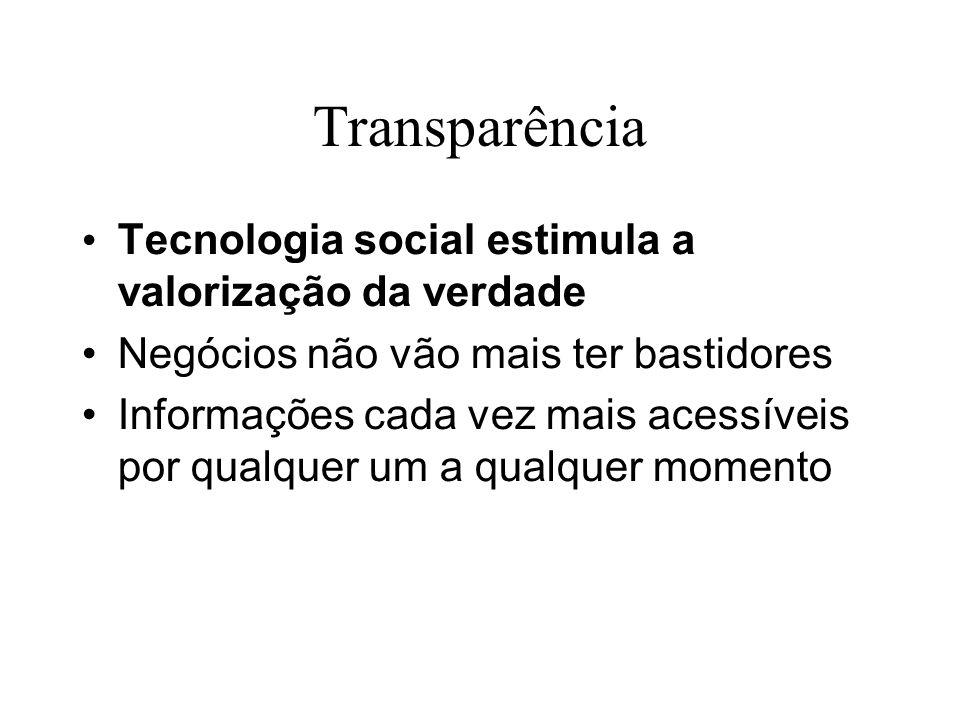 Transparência Tecnologia social estimula a valorização da verdade Negócios não vão mais ter bastidores Informações cada vez mais acessíveis por qualqu