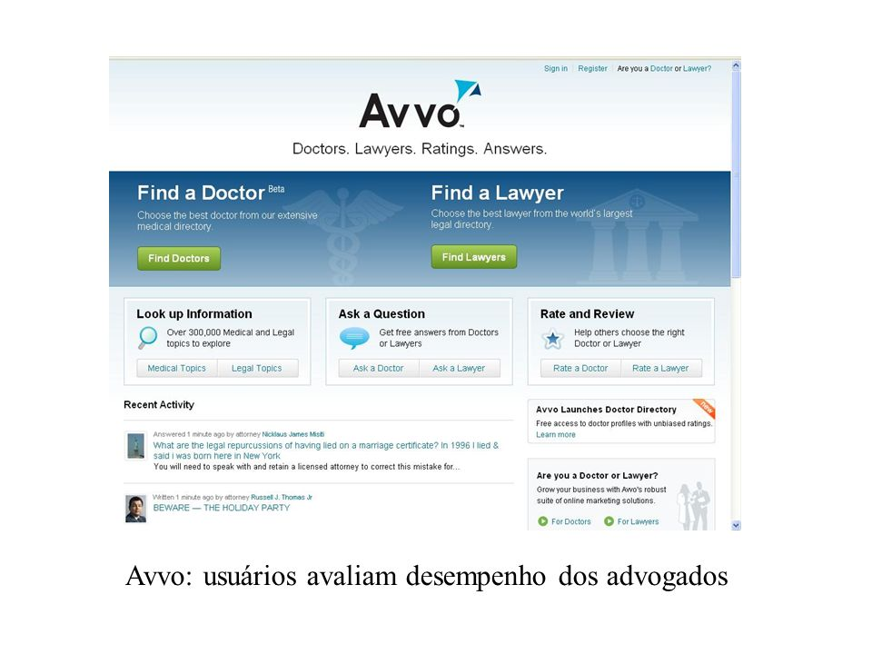 Avvo: usuários avaliam desempenho dos advogados