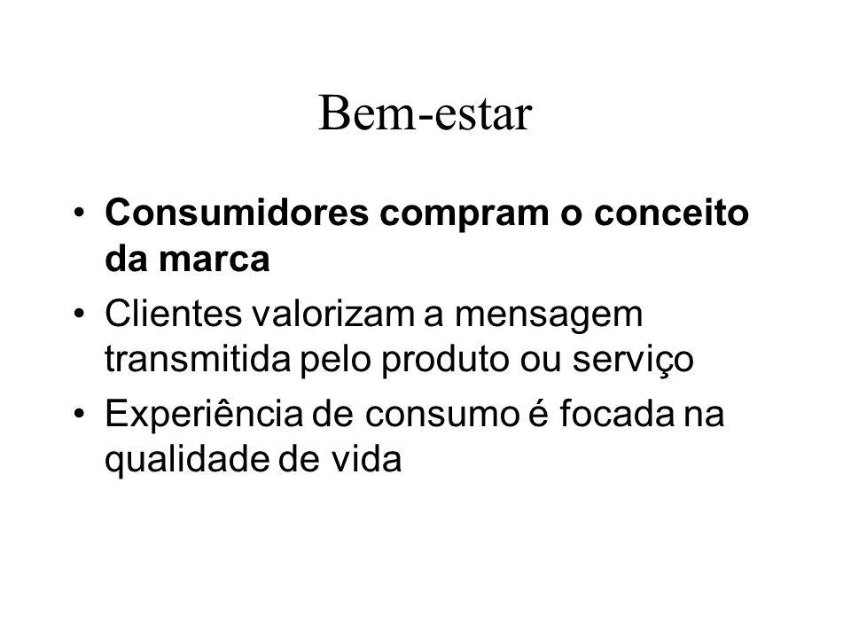 Bem-estar Consumidores compram o conceito da marca Clientes valorizam a mensagem transmitida pelo produto ou serviço Experiência de consumo é focada n