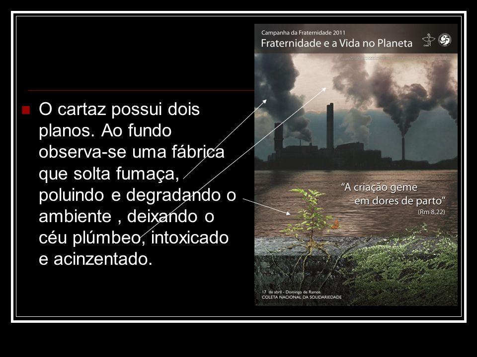 O cartaz possui dois planos. Ao fundo observa-se uma fábrica que solta fumaça, poluindo e degradando o ambiente, deixando o céu plúmbeo, intoxicado e