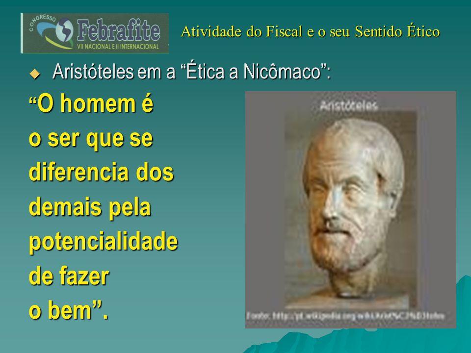 Aristóteles em a Ética a Nicômaco: Aristóteles em a Ética a Nicômaco: O homem é O homem é o ser que se diferencia dos demais pela potencialidade de fa