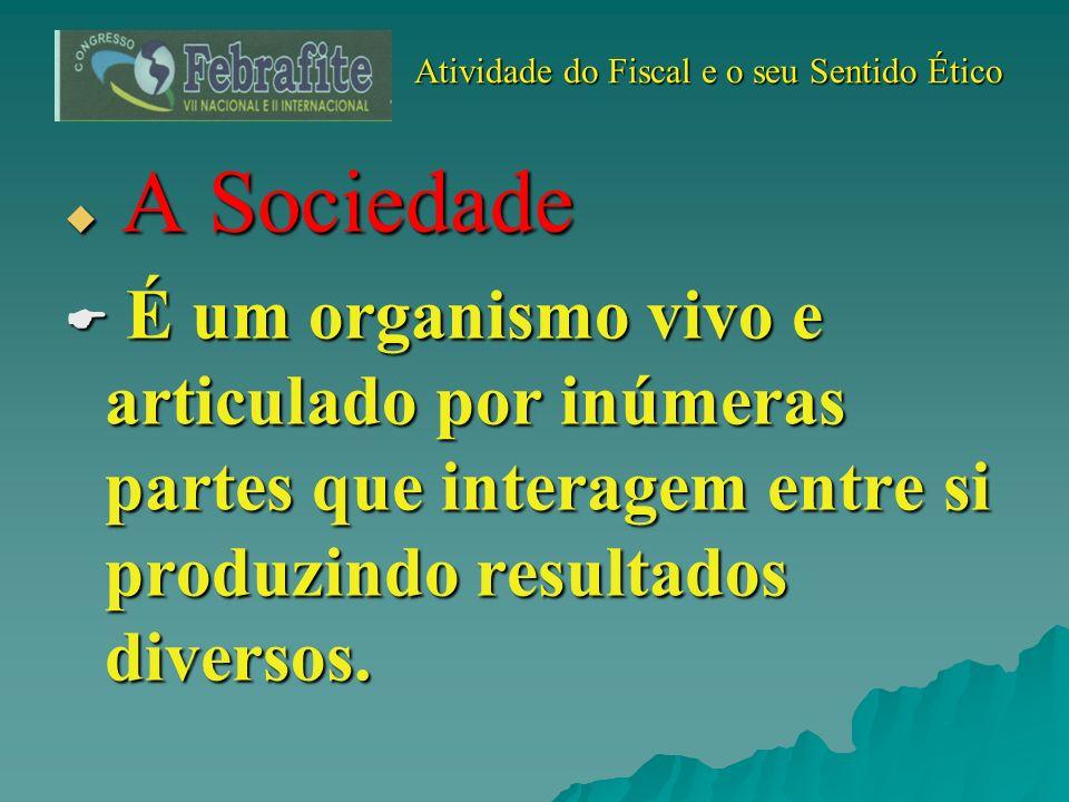 Atividade do Fiscal e o seu Sentido Ético Atividade do Fiscal e o seu Sentido Ético A Sociedade A Sociedade É um organismo vivo e articulado por inúme