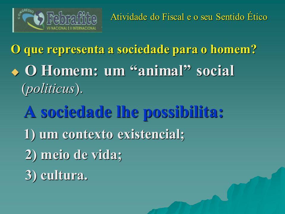 Atividade do Fiscal e o seu Sentido Ético Atividade do Fiscal e o seu Sentido Ético O que representa a sociedade para o homem? O Homem: um animal soci