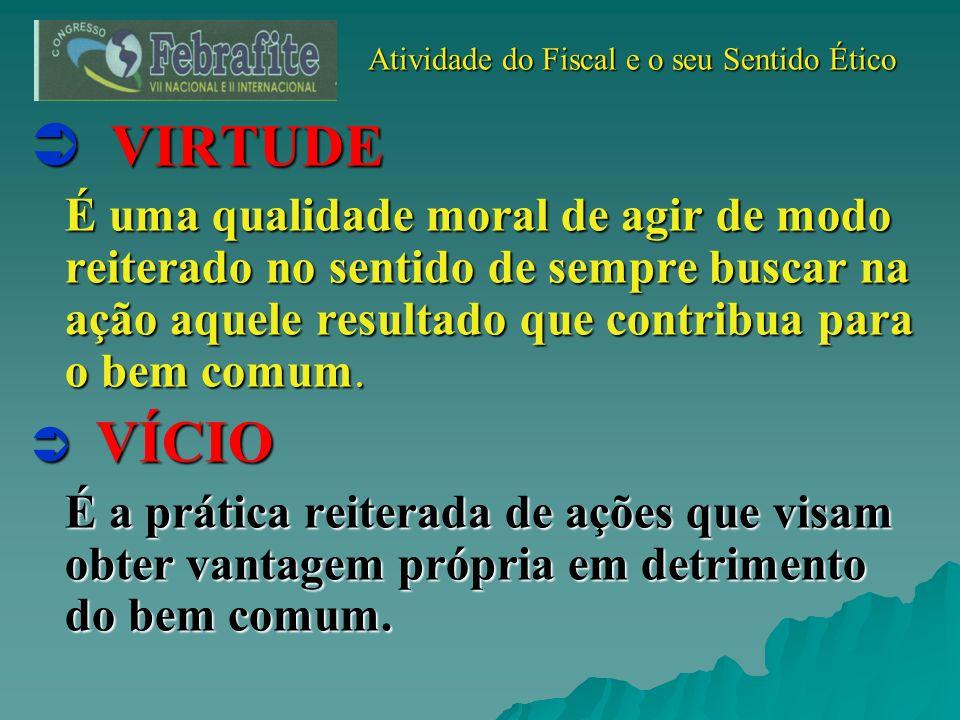 Atividade do Fiscal e o seu Sentido Ético Atividade do Fiscal e o seu Sentido Ético VIRTUDE VIRTUDE É uma qualidade moral de agir de modo reiterado no