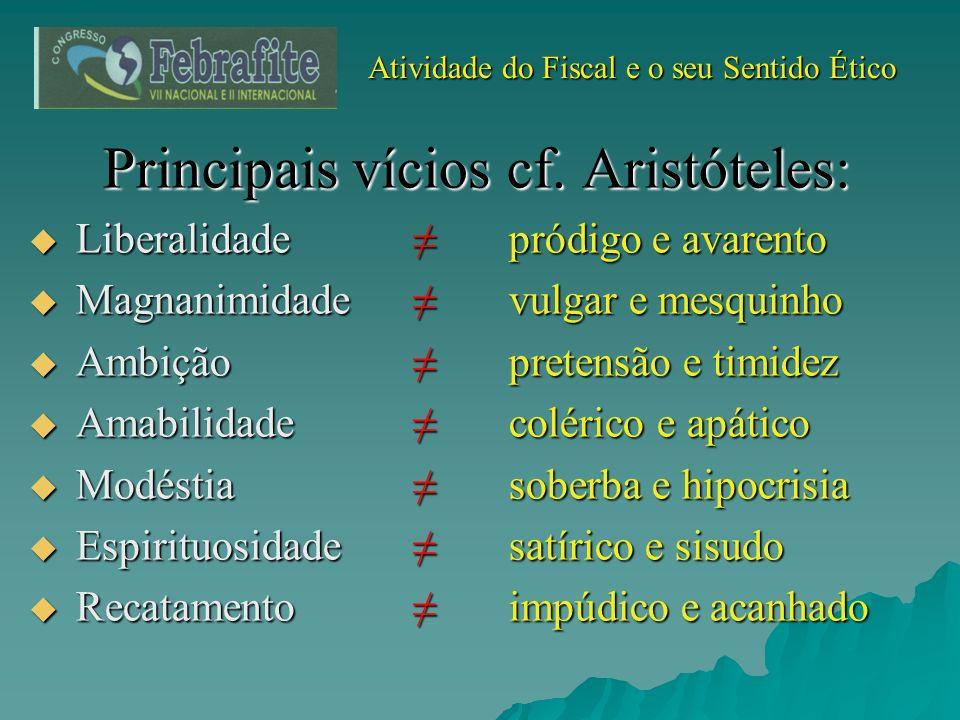 Atividade do Fiscal e o seu Sentido Ético Atividade do Fiscal e o seu Sentido Ético Principais vícios cf. Aristóteles: Liberalidadepródigo e avarento