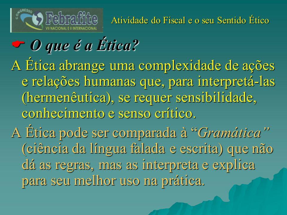 Atividade do Fiscal e o seu Sentido Ético Atividade do Fiscal e o seu Sentido Ético O que é a Ética? O que é a Ética? A Ética abrange uma complexidade