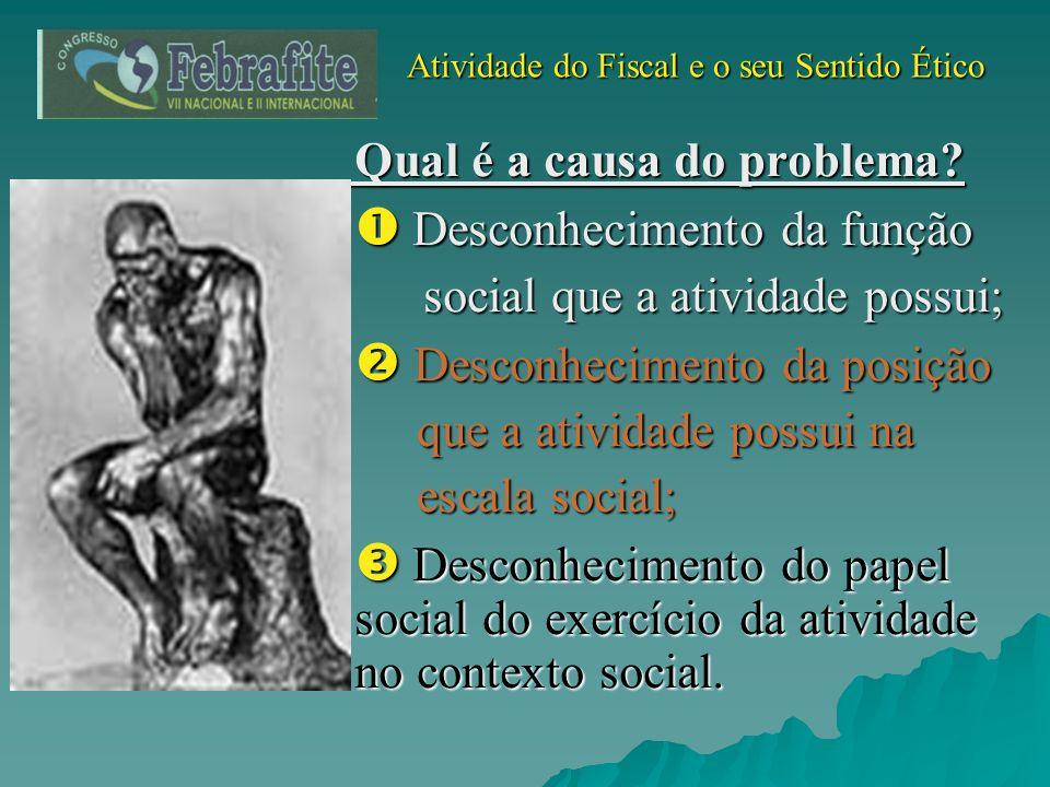 Atividade do Fiscal e o seu Sentido Ético Atividade do Fiscal e o seu Sentido Ético Qual é a causa do problema? Desconhecimento da função Desconhecime