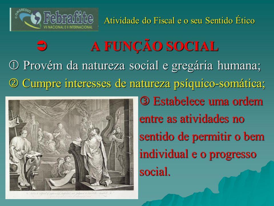 Atividade do Fiscal e o seu Sentido Ético Atividade do Fiscal e o seu Sentido Ético A FUNÇÃO SOCIAL A FUNÇÃO SOCIAL Provém da natureza social e gregár