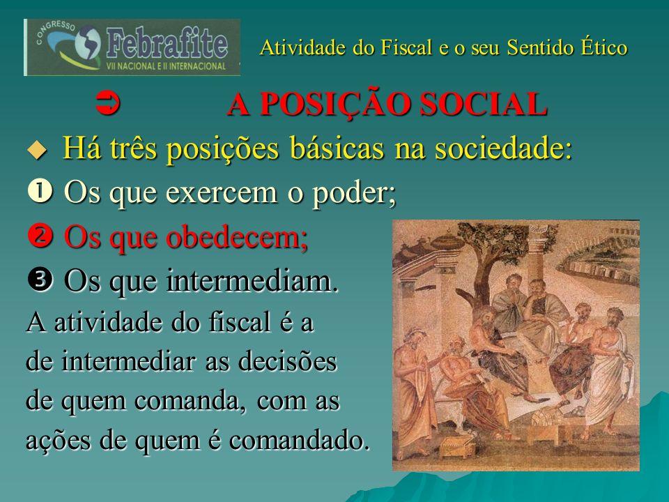 Atividade do Fiscal e o seu Sentido Ético Atividade do Fiscal e o seu Sentido Ético A POSIÇÃO SOCIAL A POSIÇÃO SOCIAL Há três posições básicas na soci