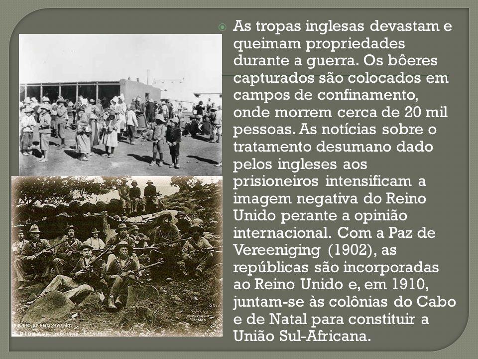 As tropas inglesas devastam e queimam propriedades durante a guerra. Os bôeres capturados são colocados em campos de confinamento, onde morrem cerca d