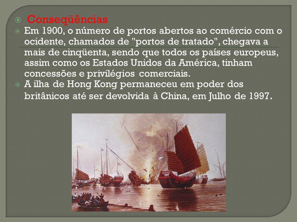 Conseqüências Em 1900, o número de portos abertos ao comércio com o ocidente, chamados de