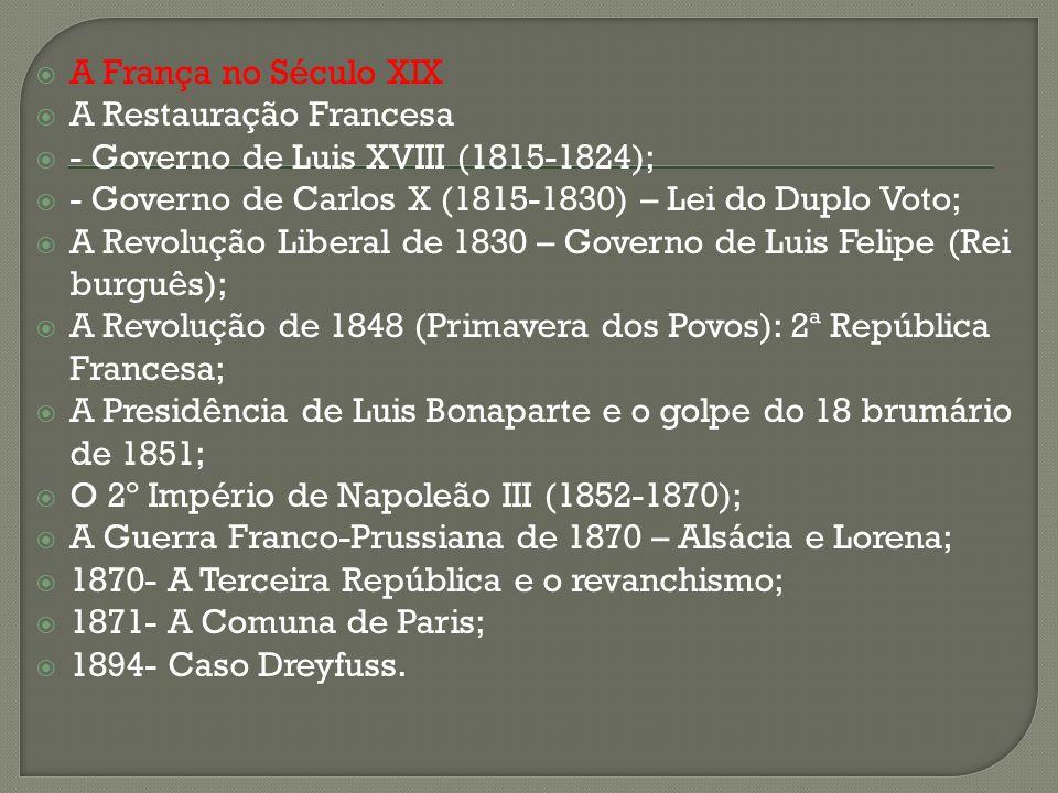 A França no Século XIX A Restauração Francesa - Governo de Luis XVIII (1815-1824); - Governo de Carlos X (1815-1830) – Lei do Duplo Voto; A Revolução