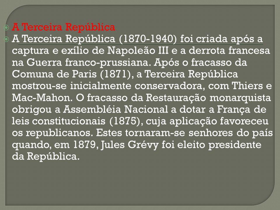 A Terceira República A Terceira República (1870-1940) foi criada após a captura e exílio de Napoleão III e a derrota francesa na Guerra franco-prussia