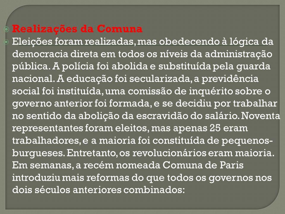 Realizações da Comuna Eleições foram realizadas, mas obedecendo à lógica da democracia direta em todos os níveis da administração pública. A polícia f
