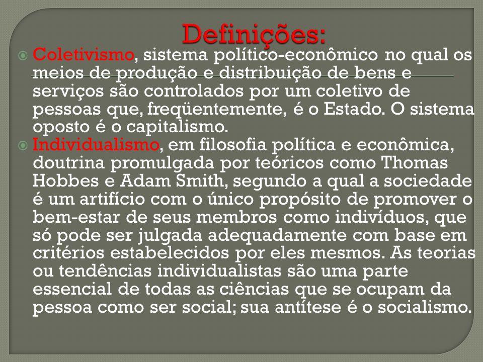 Coletivismo, sistema político-econômico no qual os meios de produção e distribuição de bens e serviços são controlados por um coletivo de pessoas que,