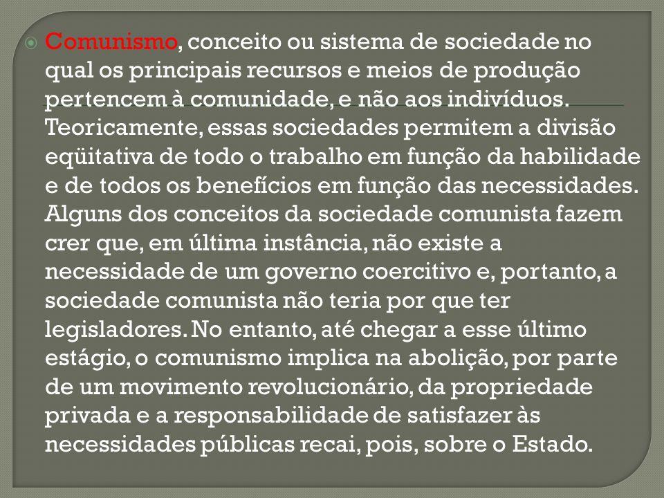 Comunismo, conceito ou sistema de sociedade no qual os principais recursos e meios de produção pertencem à comunidade, e não aos indivíduos. Teoricame