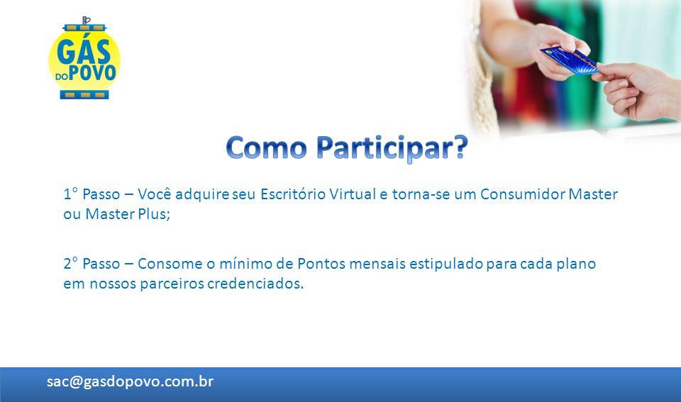 1° Passo – Você adquire seu Escritório Virtual e torna-se um Consumidor Master ou Master Plus; 2° Passo – Consome o mínimo de Pontos mensais estipulad