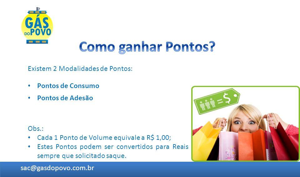 Existem 2 Modalidades de Pontos: Pontos de Adesão sac@gasdopovo.com.br Pontos de Consumo Obs.: Cada 1 Ponto de Volume equivale a R$ 1,00; Estes Pontos