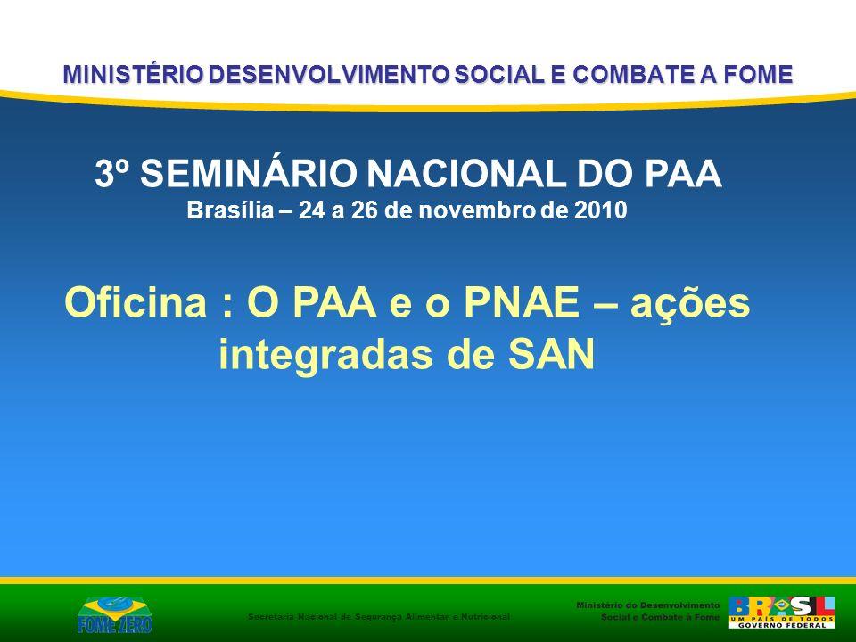 Secretaria Nacional de Segurança Alimentar e Nutricional MINISTÉRIO DESENVOLVIMENTO SOCIAL E COMBATE A FOME 3º SEMINÁRIO NACIONAL DO PAA Brasília – 24