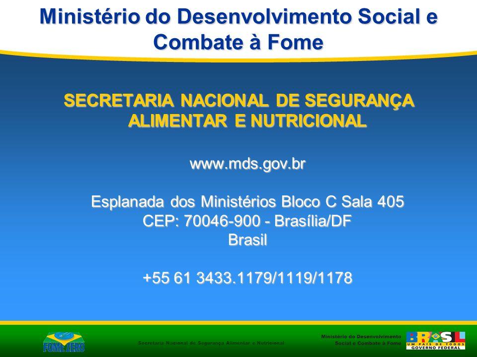 Secretaria Nacional de Segurança Alimentar e Nutricional SECRETARIA NACIONAL DE SEGURANÇA ALIMENTAR E NUTRICIONAL www.mds.gov.br Esplanada dos Ministé