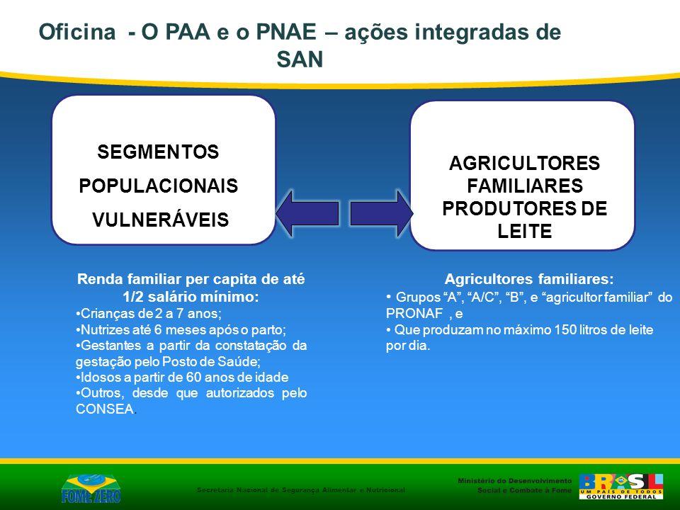 Secretaria Nacional de Segurança Alimentar e Nutricional SEGMENTOS POPULACIONAIS VULNERÁVEIS AGRICULTORES FAMILIARES PRODUTORES DE LEITE Renda familia