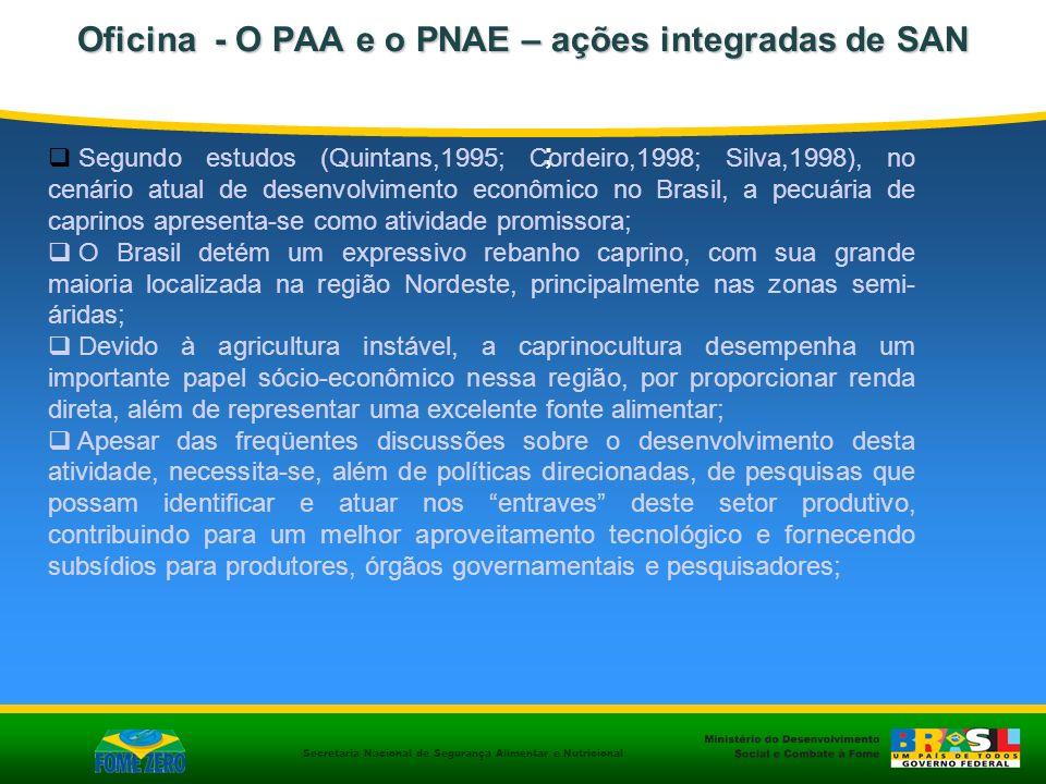 Secretaria Nacional de Segurança Alimentar e Nutricional Oficina - O PAA e o PNAE – ações integradas de SAN O Brasil é o maior produtor de leite de cabra da América do Sul, com 135.000 toneladas/ano (FAO, 2007); A produção está concentrada principalmente nos Estados da Região Nordeste, Sudeste e Sul (Holanda Jr.
