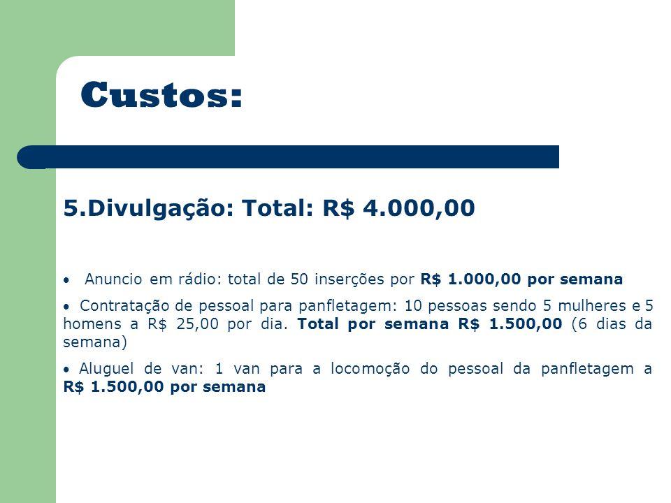 Custos: 5.Divulgação: Total: R$ 4.000,00 Anuncio em rádio: total de 50 inserções por R$ 1.000,00 por semana Contratação de pessoal para panfletagem: 10 pessoas sendo 5 mulheres e 5 homens a R$ 25,00 por dia.
