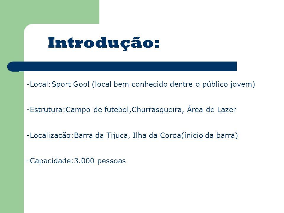 Introdução: -Local:Sport Gool (local bem conhecido dentre o público jovem) -Estrutura:Campo de futebol,Churrasqueira, Área de Lazer -Localização:Barra da Tijuca, Ilha da Coroa(ínicio da barra) -Capacidade:3.000 pessoas
