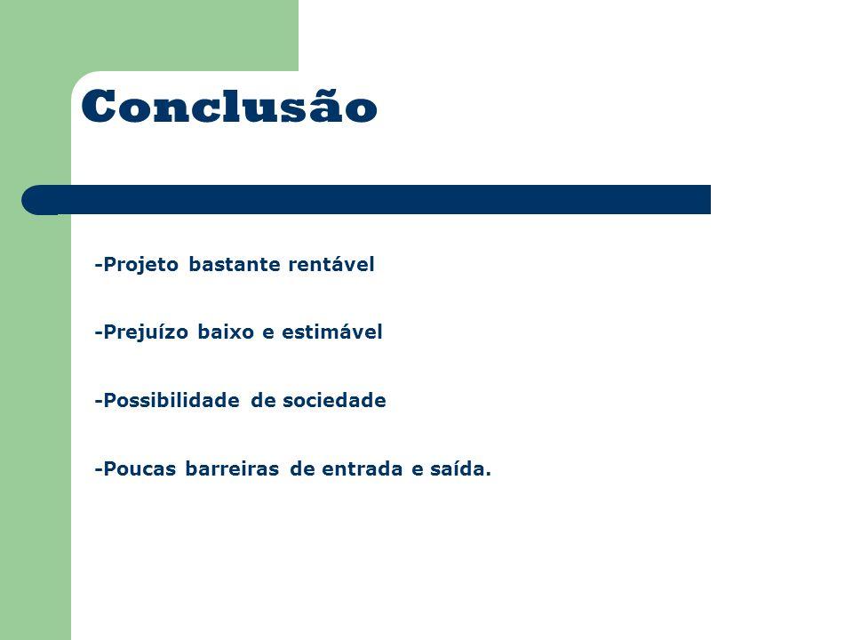 Conclusão -Projeto bastante rentável -Prejuízo baixo e estimável -Possibilidade de sociedade -Poucas barreiras de entrada e saída.
