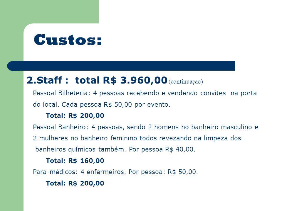 Custos: 2.Staff : total R$ 3.960,00 (continuação) Pessoal Bilheteria: 4 pessoas recebendo e vendendo convites na porta do local. Cada pessoa R$ 50,00
