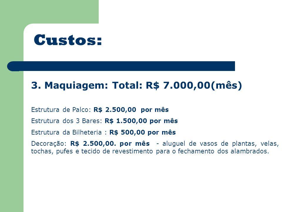 Custos: 3. Maquiagem: Total: R$ 7.000,00(mês) Estrutura de Palco: R$ 2.500,00 por mês Estrutura dos 3 Bares: R$ 1.500,00 por mês Estrutura da Bilheter