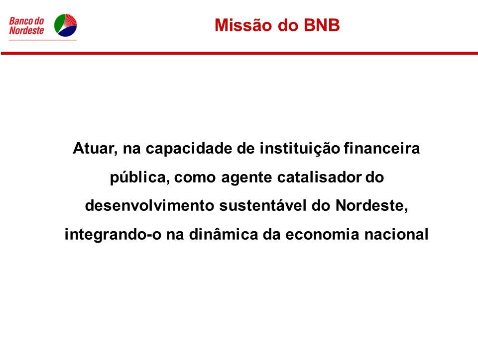 Missão do BNB Atuar, na capacidade de instituição financeira pública, como agente catalisador do desenvolvimento sustentável do Nordeste, integrando-o na dinâmica da economia nacional