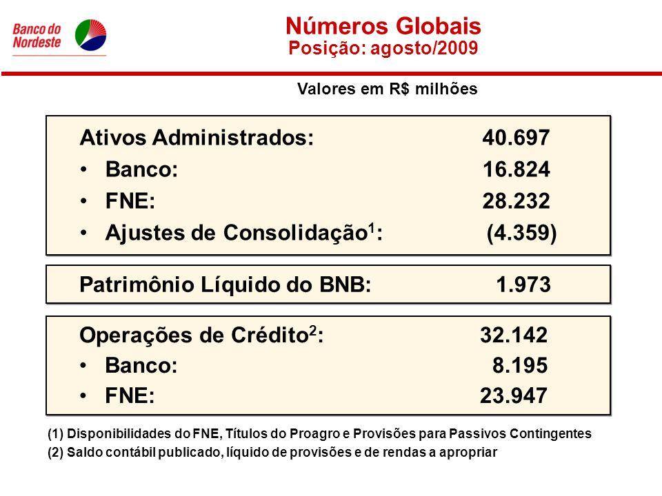 Números Globais Posição: agosto/2009 Ativos Administrados: 40.697 Banco: 16.824 FNE: 28.232 Ajustes de Consolidação 1 : (4.359) (1) Disponibilidades do FNE, Títulos do Proagro e Provisões para Passivos Contingentes Patrimônio Líquido do BNB:1.973 Operações de Crédito 2 : 32.142 Banco: 8.195 FNE: 23.947 (2) Saldo contábil publicado, líquido de provisões e de rendas a apropriar Valores em R$ milhões