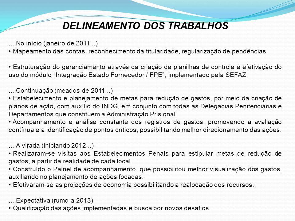 DELINEAMENTO DOS TRABALHOS....No início (janeiro de 2011...) Mapeamento das contas, reconhecimento da titularidade, regularização de pendências.