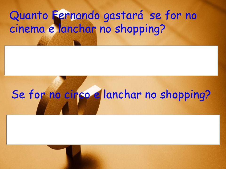 Quanto Fernando gastará se for no cinema e lanchar no shopping.