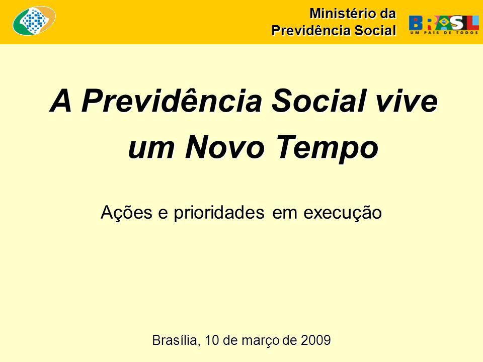 Ministério da Previdência Social A Previdência Social vive um Novo Tempo Brasília, 10 de março de 2009 Ações e prioridades em execução