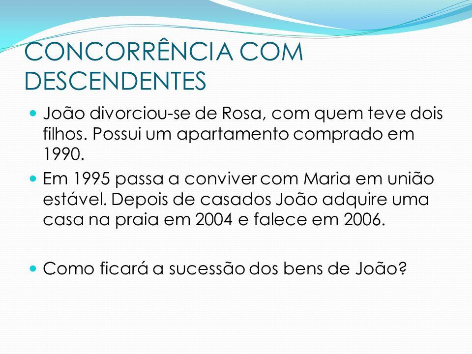 João divorciou-se de Rosa, com quem teve dois filhos. Possui um apartamento comprado em 1990. Em 1995 passa a conviver com Maria em união estável. Dep