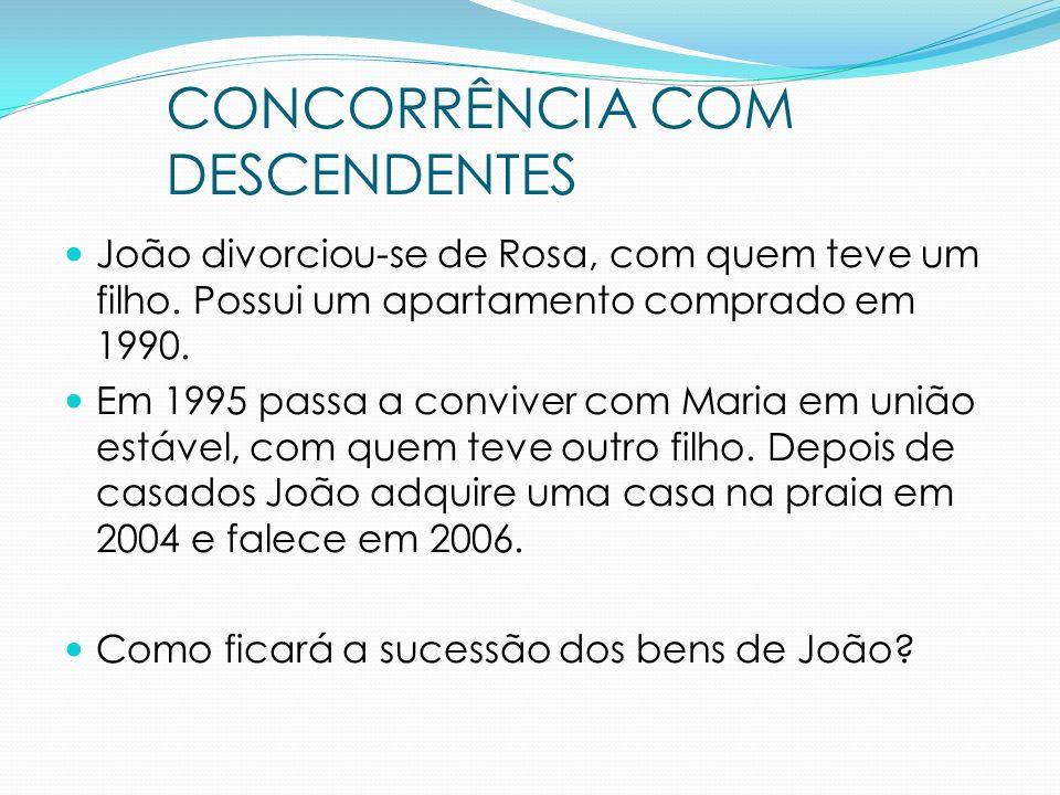 João divorciou-se de Rosa, com quem teve um filho. Possui um apartamento comprado em 1990. Em 1995 passa a conviver com Maria em união estável, com qu