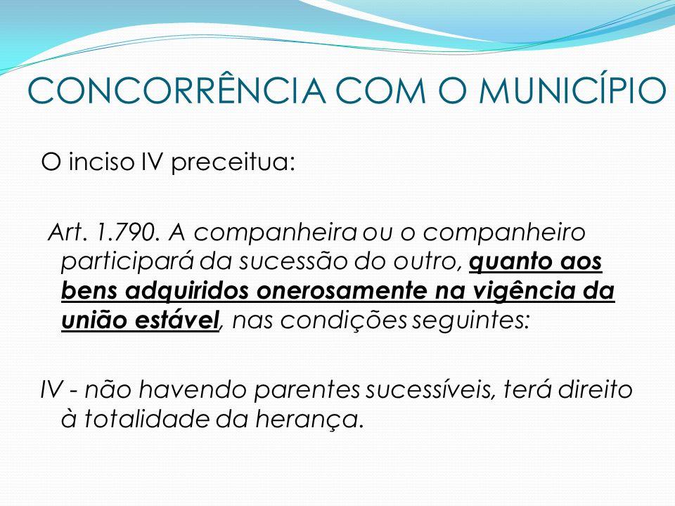 O inciso IV preceitua: Art. 1.790. A companheira ou o companheiro participará da sucessão do outro, quanto aos bens adquiridos onerosamente na vigênci