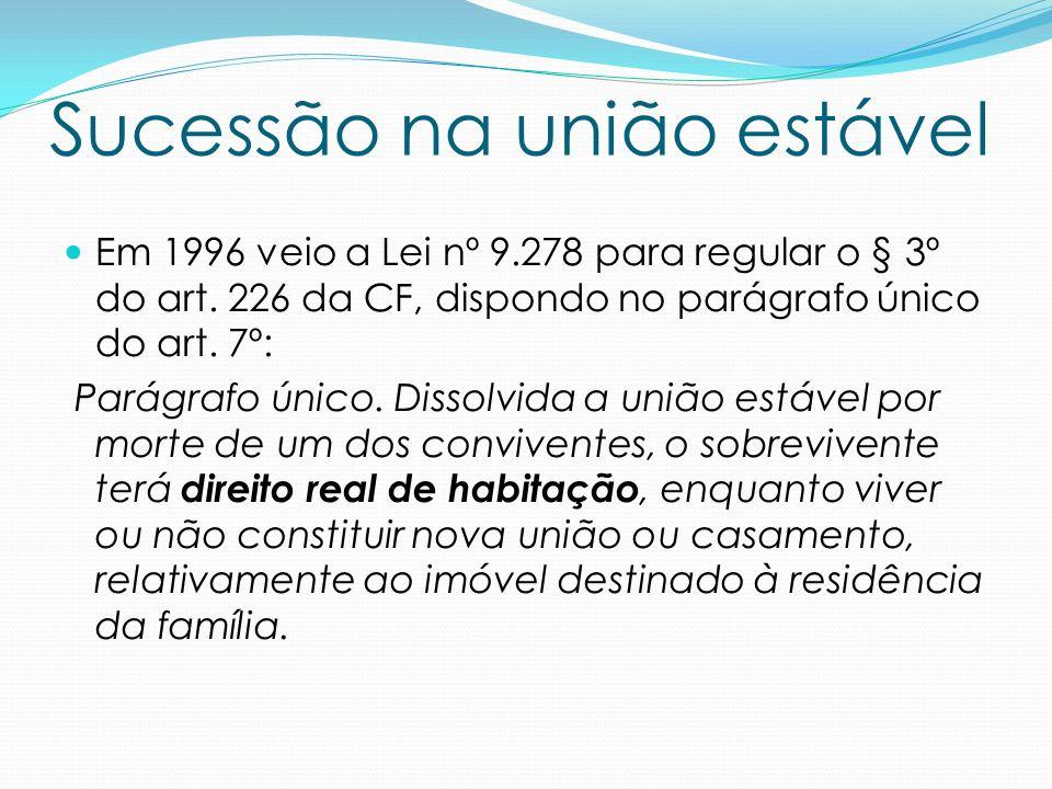 Sucessão na união estável Em 1996 veio a Lei nº 9.278 para regular o § 3º do art. 226 da CF, dispondo no parágrafo único do art. 7º: Parágrafo único.